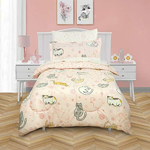 Kidz Mix Sleepy Cats Super Soft Bed in a Twin Bag with Reversible Comforter and Sheet Set Pink product image