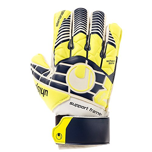 uhlsport Herren Eliminator Soft SF Plus JUNIOR Torwart-Handschuhe, Marine/Fluo gelb/Weiß, 8.0