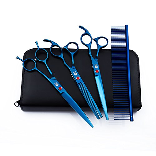 Dream Reach Dog Grooming Scissors - 7'' Professional Pet Cat Hair Scissors Set - Best Cutting & Curved & Thinning Shear Scissors & Grooming Comb Kit for Small Large Dogs Cats Pets (Blue)