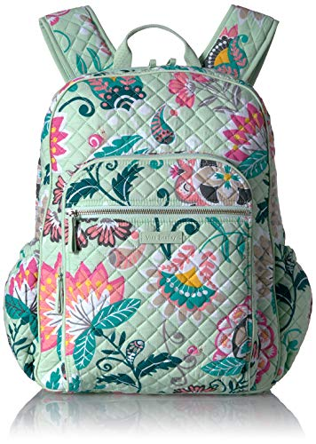 Vera Bradley Signature Cotton Campus Backpack, Mint Flowers