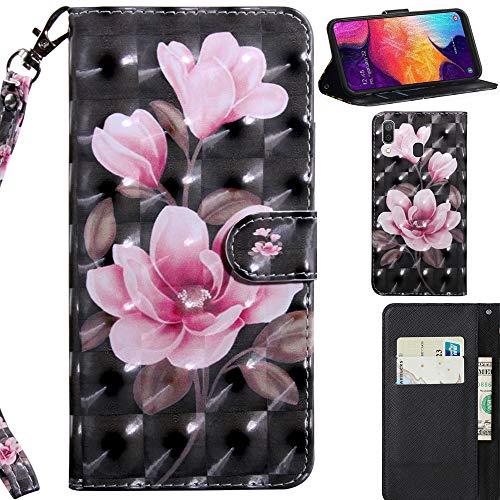 DodoBuy 3D Hülle für Samsung Galaxy A20/A30, Flip PU Leder Schutzhülle Handy Tasche Brieftasche Wallet Hülle Cover Ständer mit Kartenfächer Trageschlaufe Magnetverschluss - Pink Blume