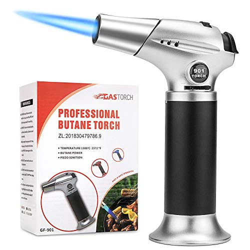 Tobepico Butane Torch Refillable Blow Torch Cooking Torches Kitchen Culinary Torch Lighter with Safety Lock and Adjustable Flame for Desserts, BBQ and Baking(Butane Gas Not Included)