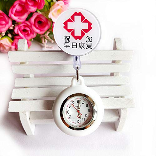 Cxypeng Brooch Fob Watch,Gift Item,Retractable silicone doctor and nurse pocket watch, student exam chest watch-CC,Brooch Hanging for Doctor Nurses