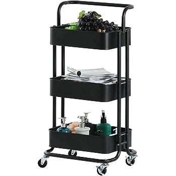 Carrito de metal con ruedas de 3 niveles, carrito de almacenamiento, organizador con asas, cesta de malla de almacenamiento y ruedas de freno. Fácil de montar, para cocina, oficina, baño, recámara, cuarto de lavandería