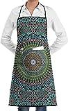 Delantal de Babero de Cocina de Cocina marroquí de Oriente Medio geométrico Tradicional con Bolsillos Delantales para Mujeres Hombres Hornear Jardinería