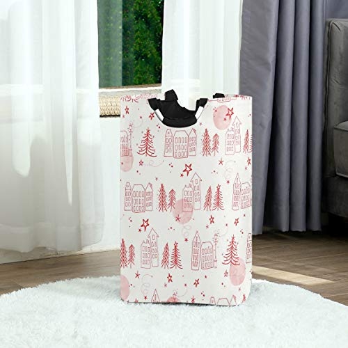 FANTAZIO eenvoudige huis grenen naalden tekenen grote wasmand opvouwbare stof waszak, opvouwbare kleding tas