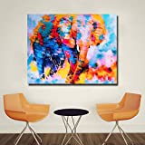 YuanMinglu Wohnzimmer nach Hause Wanddekoration Poster abstrakte Bunte Elefantendruck Tierkunst Leinwand Malerei rahmenlose Malerei 40X50cm