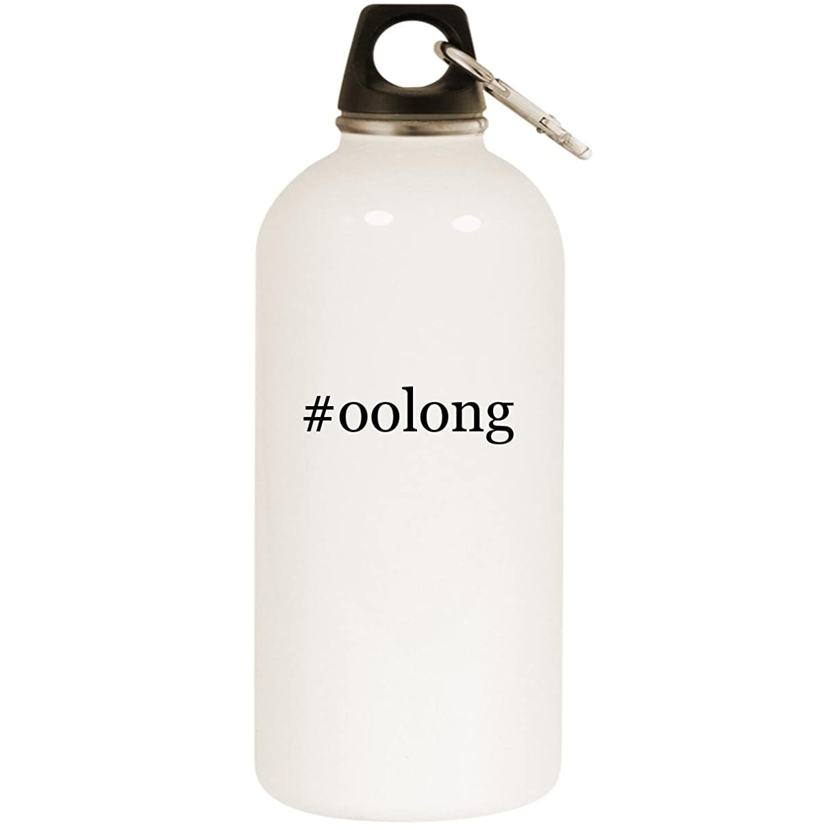 Molandra Products #Oolong - White Hashtag 20oz Stainless Steel Water Bottle with Carabiner