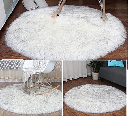 LAMEDER Alfombra Decorativa Interior de Pelo Largo Redondo Suave y Moderno Alfombra de imitación Oveja Manta de Noche de Dormitorio, blanco-150 × 150 cm