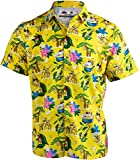 Bananas & Blow | Funny Cool Hawaiian Button Down Polo Golf Party Shirt for Men-(Collar,L) Yellow