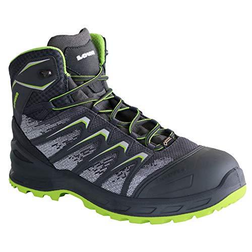 Lowa Sicherheitsschuhe LARROX Work GTX Black Mid S3, Schuhgröße:45 (UK 10.5), Farbe:grau/Limegreen