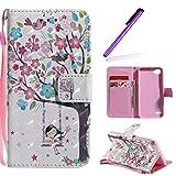 HMTECH LG Q6 Hülle 3D Süßes Mädchen Bunte Blumen Flip Standfunktion Karten Slot Magnetverschluß Brieftasche Taschen Schalen Handy für LG Q6,Swing Girl Colorful Flower KT