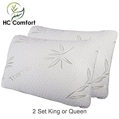 HC Comfort Premium Bamboo Memory Foam Pillow Set of 2. Ultra Cool Hypoallergenic Washable Bamboo Cover USA Designed King