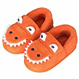 Westilely Boys Girls House Slippers Cute Dinosaur Slippers for Kids Warm Home Indoor Slippers Non-Slip Winter Shoes Orange