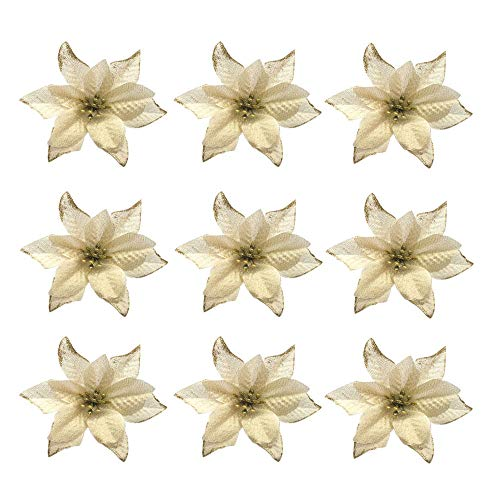 30pieces Christmas Poinsettia Flowers,6 Inches Glitter Christmas Tree Decorations Flowers, Artificial Sparkle Christmas Poinsettia,Wedding Party,Christmas Tree Ornaments Decorative-Golden