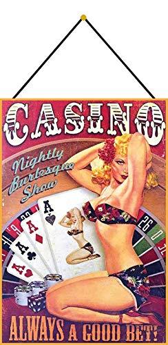 Generisch Cartel de Chapa 20 x 30 cm Curvado con cordón Sexy Pin Up Casino Always A Good Bet Poker Roulette Decoración Regalo Cartel
