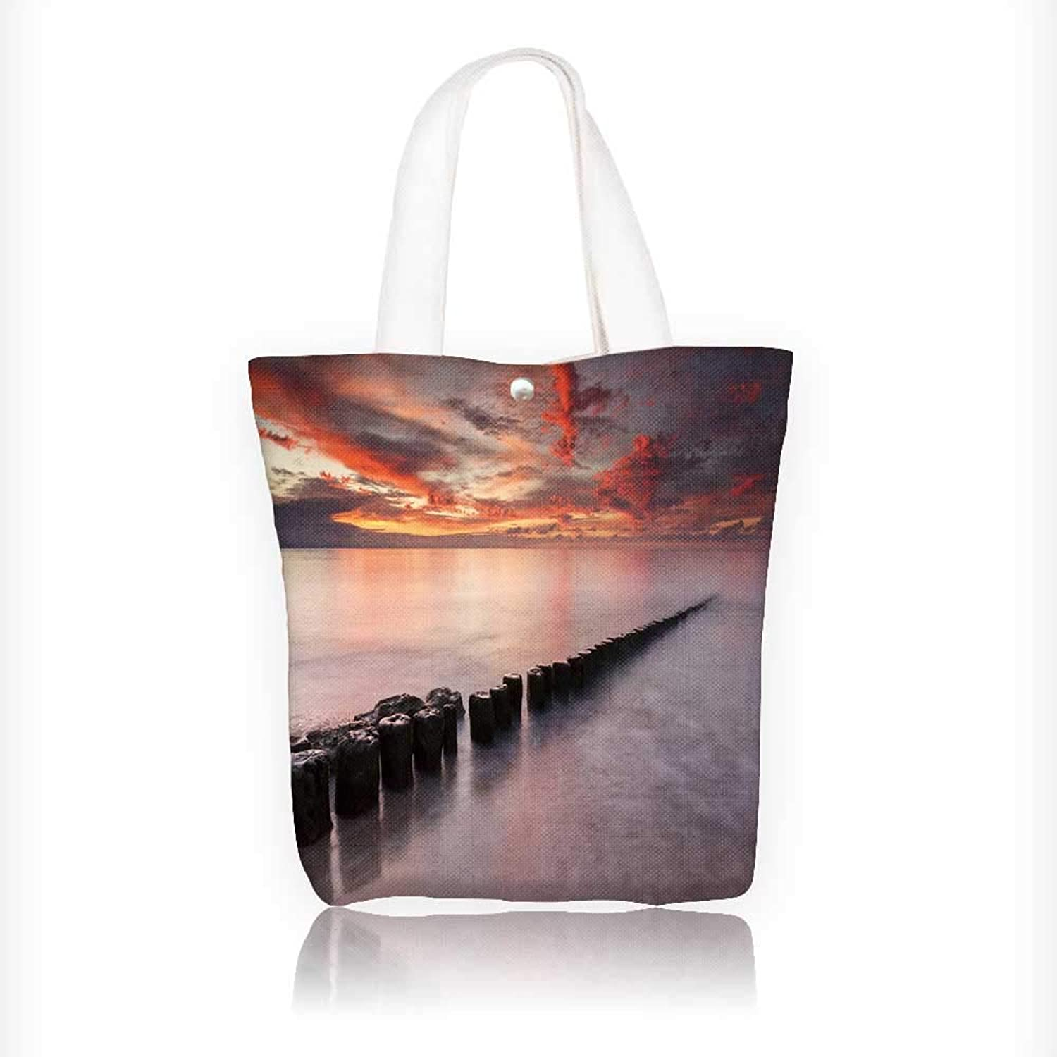 Canvas Shoulder Hand Bag Sunset on Baltic sea in North Poland Sunset sea Tote Bag for Women Large Work Tote Bag Shoulder Travel Totes Beach Bag W11xH11xD3 INCH