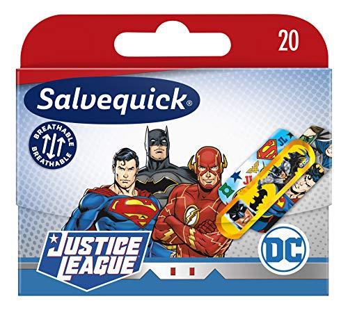 Salvequick ®   Justice League Super Heroes Flexible, langlebige, atmungsaktive und wasser- und schmutzabweisende Pflaster für Kinder   Packen Sie 20 Einheiten