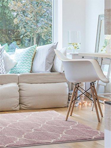 benuta Teppich Justin Rosa 80x150 cm | Moderner Teppich für Wohn- und Schlafzimmer