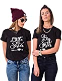 Best Friends Damen T-Shirt BFF Big Sister und Little Sis für 2 (Schwarz, Big-M+Little-S)