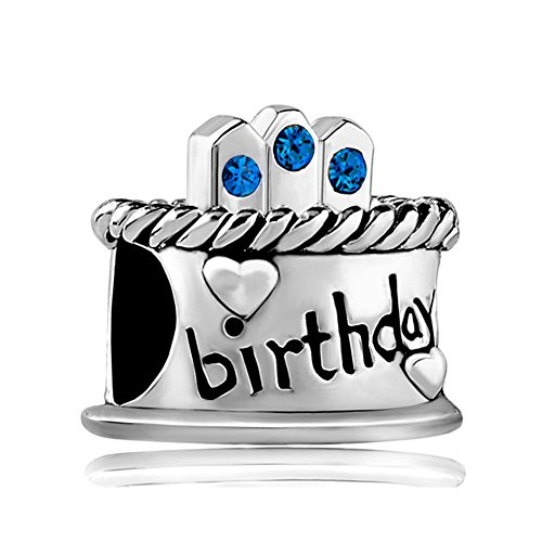Uniqueen Happy Birthday Cake Charms with Swarovski element Crystal Sale Cheap Beads Fit Pandora Bracelet Gifts (September Birthstone)