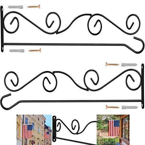 BONWIN Wall Garden Flag Holder, 2 Pack Metal Wrought Iron Garden Flags Scroll Hanger - Yard Mailbox Post Flag Bracket - Garden Flag Pole Stand for Wall Wood Mailbox Post - 4' H x 16' W