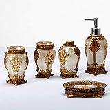 GYCS Botellas dispensadoras de jabón, patrón Tridimensional en Relieve de 5 Piezas, Juego de Accesorios de baño con Revestimiento de Metal Antiguo, producción de Resina, dispensador de loción, so