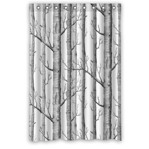 48'(Width) x 72'(Height)Stylish Lovely White Birch Trees Pattern Bathroom Shower Curtain Shower Rings Included, 100% Polyester (New Polyester) - Comfortable Life Bathroom Exclusive