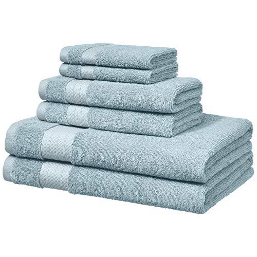 Amazon Basics Performance Serviettes de toilette - 2 serviettes de bain, 2 essuie-mains et 2 gants de toilette, Bleu aigue-marine