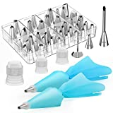 Kootek 54 in 1 Cake Decorating Supplies, 35 Piping Tips, 13 Large Icing Sets, Reusable Silicone Pastry Bags, 3 Couplers and 1 Flower Nail Decoration Kits Baking Accessories Tools for Cake, Cupcake