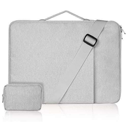 ZWOOS 15,6 pollici Borsa Porta PC Custodia per Laptop Portatile, Custodia per Laptop Tracolla per Lavoro Adattato a MacBook PRO/Lenovo/Acer/Dell/HP/Samsung(Borsa con cerniera grigia + piccola)