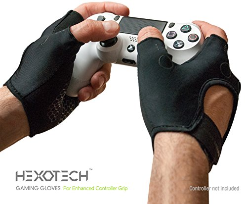 Foamy Lizard Gaming Grip Gloves Hexotech Pro Gamer Anti-Sweat Fingerless Tactical Gloves for Controller Grip for Xbox Series X, Playstation 5 Dualsense (Pair of Gloves) MD