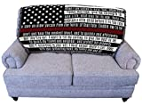 Fire Department - Firefighter's Prayer - Red Line - American Flag - for Back of Couch or Sofa - Cotton Woven Blanket Throw - Made in The USA (61x36)