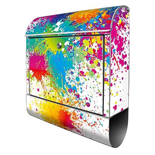 Banjado Design Briefkasten mit Motiv Farbspritzer | Stahl pulverbeschichtet mit Zeitungsrolle | Größe 39x47x14cm, 2 Schlüssel, A4 Einwurf, inkl. Montagematerial