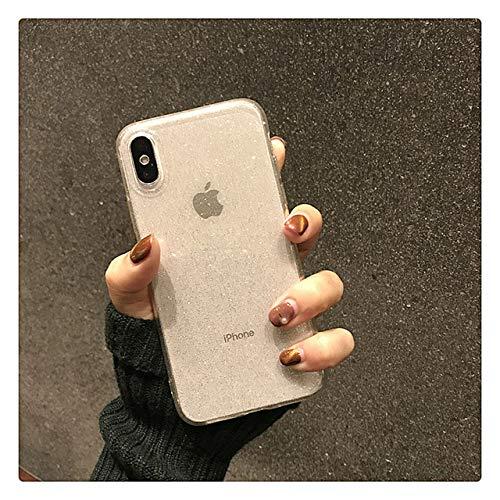 WGOUT Shining Glitter Powder Bling Estuche para iPhone 11 Estuche Pro XR XS 8 7 Plus 6S 12 Pro Estuche MAX Transparente Suave TPU Cubierta a Prueba de Golpes, Transparente, para i6