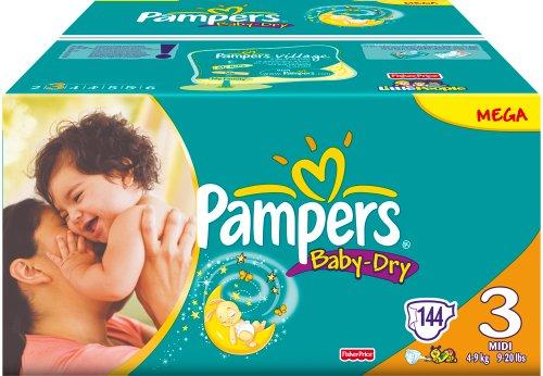 Pampers Windeln Baby Dry Gr.3 Midi 4-9 kg Megapack, 144 Stück