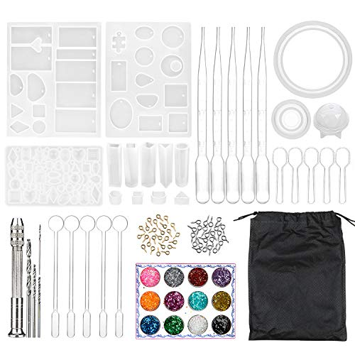 Resina Moldes Kit, Comius Sharp 83 PCS Bricolaje Joyería Molde con Bolsa Almacenamiento y Kit de Herramientas para Fabricación de Joyas DIY Artesanía