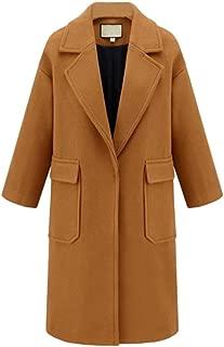 Hengshikeji Women's Winter Wool Coats Long Peacoat Lapel Trench Jacket Big Pocket Overcoat Outwear Dress Coat