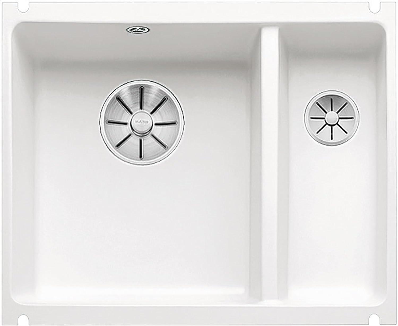 Weiß SUBLINE 350 150-U Unterbauspüle Keramik kristallwei glnzend Hauptbecken links Stopf