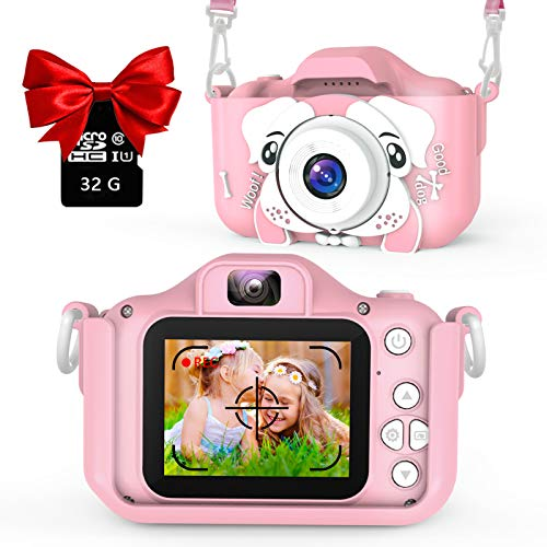 AOGELI Kids Camera for Girls Boys, Kids Selfie Camera, 20.0MP HD Digital Video Camera for Children, Dual Camera Camcorder, 2.0 Inch IPS Screen, 32GB Memory Card, Great for 3-12 Y