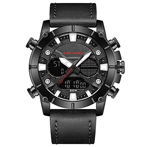 WNGJ Hombre Relojes, Multifuncional Deportivo Relojes, Correa De Caucho Impermeable Reloj Hombre Reloj Calendario, Familiares Y Amigos Black