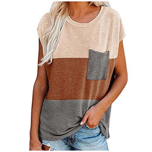 Kpasati T-Shirt Damen Sommer Farbe Spleißen Rundhals Normales Modell Original Design Beiläufig Britischer Wind Kurzarm