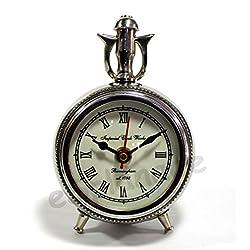 eSplanade - 6 Metal Vintage Clock | Classic Retro Clock, European Style Vintage Table Clock Desk Clock | Clocks for Home | Time Piece | No Alarm Feature.