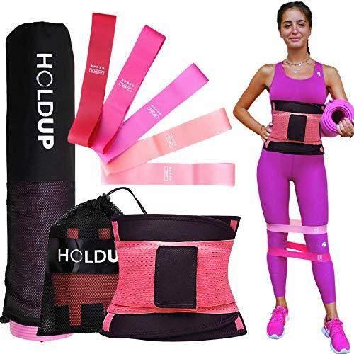 HoldUp Elastici Fitness con Tappetino Fitness e Fascia Dimagrante Donna Brucia Grassi | Fitness Kit Attrezzi Palestra Casa...