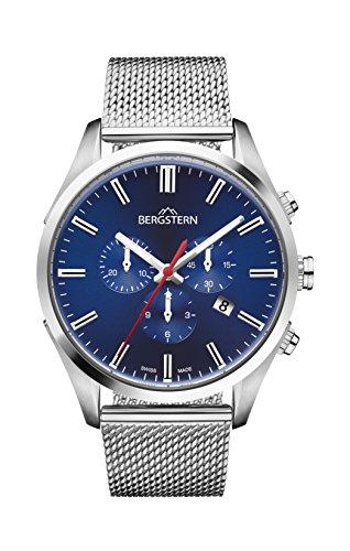 Orologio uomo bergstern con cinturino argento e schermo in blu b050g239