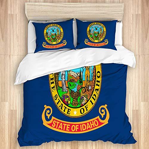 LISNIANY Bettwäsche Set,Flagge des Bundesstaates Idaho im Nordwesten der Vereinigten Staaten,1 Bettbezug 220x240cm+2 Kopfkissenbezug 50x80cm