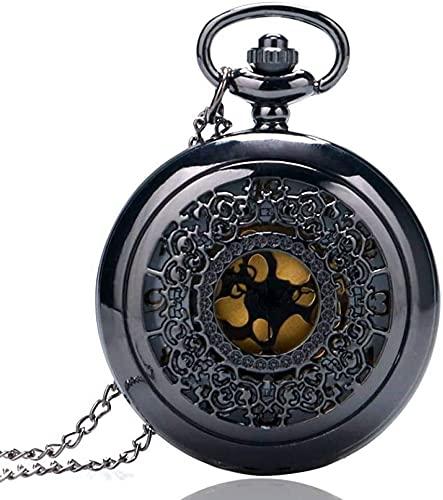 MAATCHH Reloj de Bolsillo Reloj de Bolsillo Vintage Reloj de Bolsillo de Cuarzo Negro Hombres Mujeres Vintage Reloj para Hombres Mujeres (Color : Black, Tamaño : One Size)