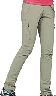 Thin and Elastic Waterproof Pants Hiking Pants for Outdoor Sport Women's Khaki Quick Dry Pants Cloth (Size : L)