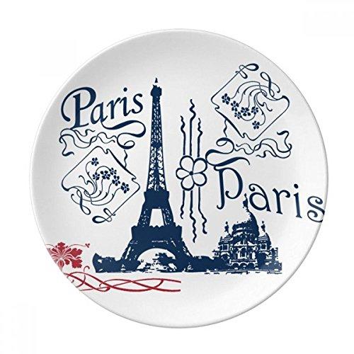 DIYthinker France Paris Tour Eiffel Ligne Dessin décoratif Porcelaine Assiette à Dessert 8 Pouces Dîner Accueil Cadeau 21cm diamètre Multicolor