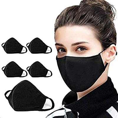 5 Pack Protect Cover Bandana Balaclavas | Cotton Anti-dust Mouth Cover Face Mask | For Men & Women | 2-Layer Reusable Fashion Washable Cover - UK SELLER (Pack 5, Black)